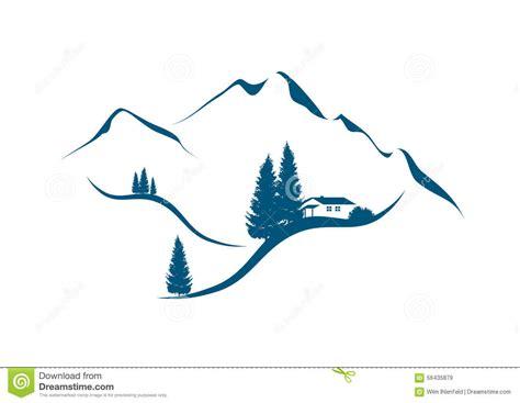 clipart montagna paysage de montagne avec la hutte et les sapins