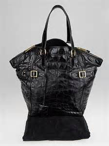 yves laurent black croc print quilted leather large