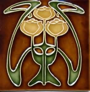 Graceful art tile art nouveau flowers 320743 home design ideas