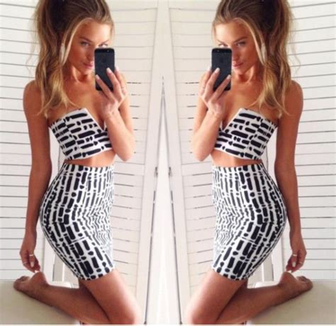black and white pattern skirt outfit dress two piece black and white outfit pattern top