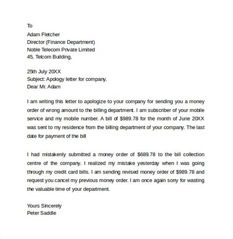 Apology Letter Verbiage Sle Professional Apology Letter 10 Free Documents In Word Pdf