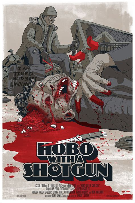 witch a shotghun bloody hobo with a shotgun poster is mondo s most graphic