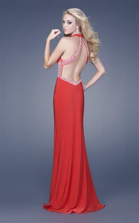 754 Dress Open Sude Halterneck column halter v neck open back side slit sweep floor length chiffon evening dresses