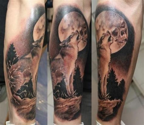 black and gray style medium sized wolf tattoo with moon
