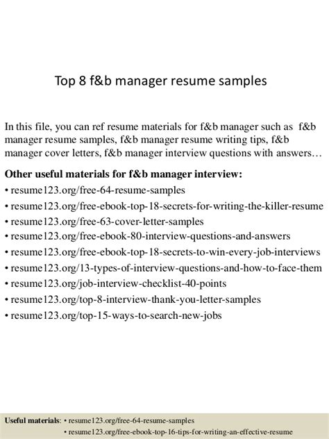 F And B Manager Sle Resume by Top 8 F B Manager Resume Sles