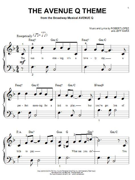 Theme Music For Q   the avenue q theme sheet music direct
