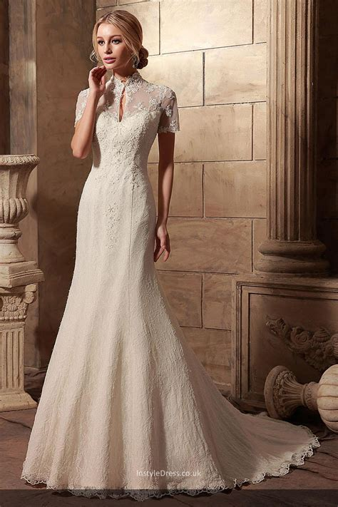 Dresswe Wedding Dresses by Beaded High Neck Mermaid Style Bridal Gown With