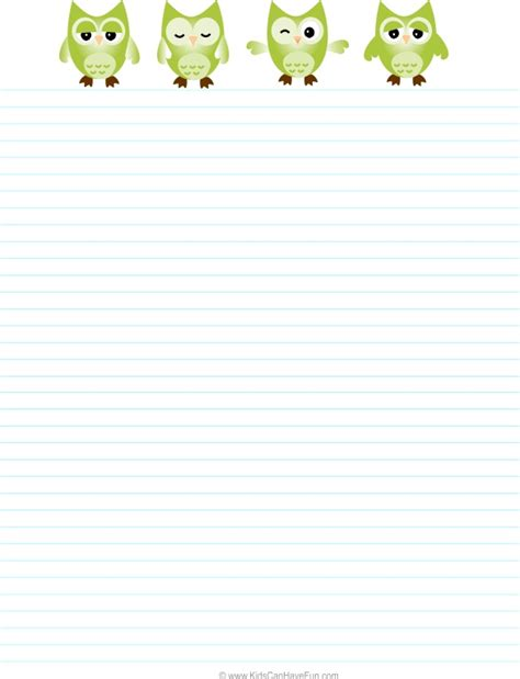 printable owl note paper 180 best blank writing templates images on pinterest
