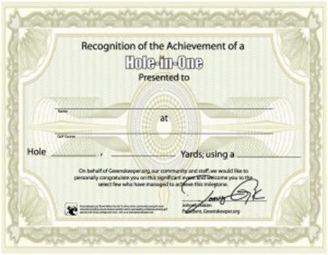 hole in one certificate www golfing guru com