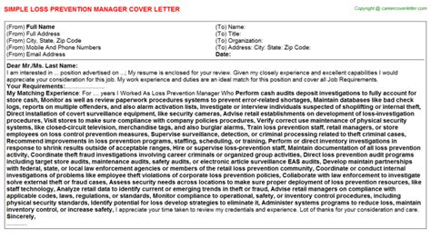 Loss Prevention Manager Cover Letter Loss Prevention Manager Cover Letter