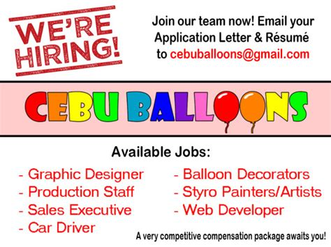 layout artist hiring in cebu job openings cebu balloons and party supplies