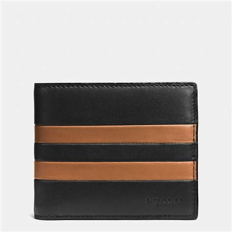 Coach Wallet Emboss Black Compact Id coach modern varsity stripe compact id wallet in sport calf leather in black for black