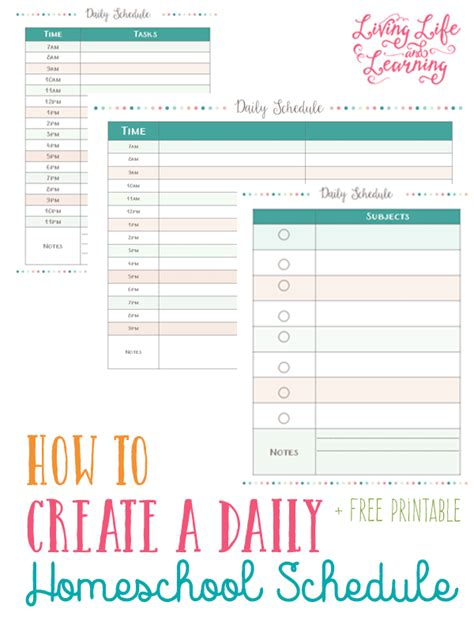 printable daily schedule for homeschool goals and daily schedule printables for homeschooling moms