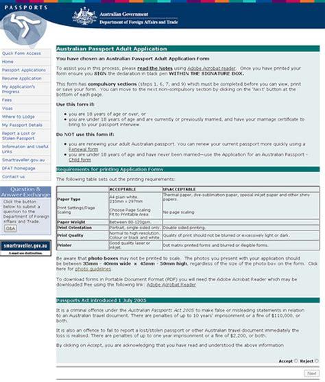 Resume Application For Australian Passport Australian Passport Application Start Page