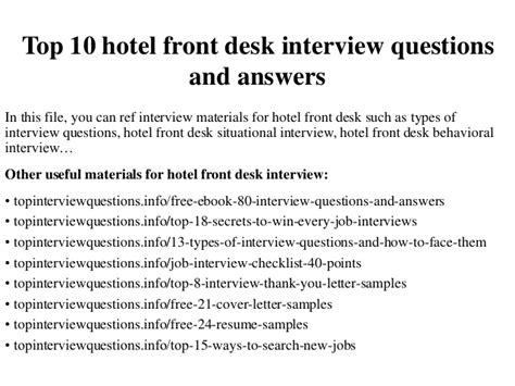 Front Desk Questions And Answers by Top 10 Hotel Front Desk Questions And Answers
