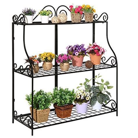 large freestanding black metal scrollwork  tier plant