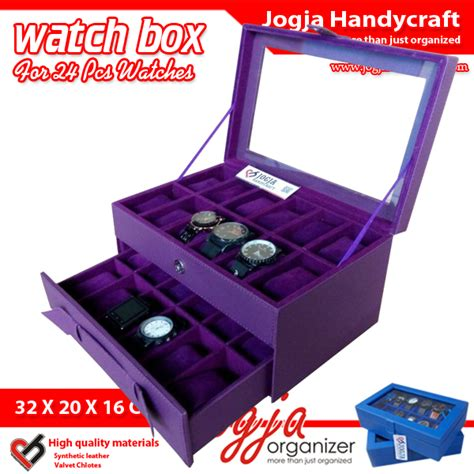purple box for 24 watches kotak jam tangan susun isi 24