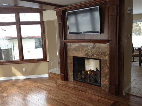 new 2 sided fireplace for space separation home ideas