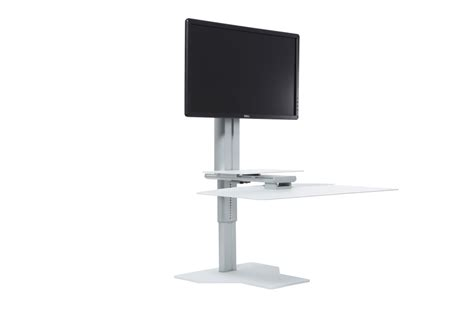 Affordable Sit Stand Desk Single Monitor Sit Stand Workstation Silver White Complement