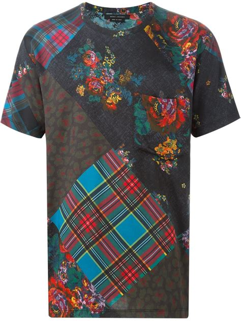 Patchwork Shirts - lyst marc patchwork print t shirt in black for