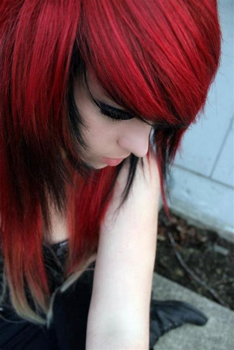 emo hairstyles red and black red and black hair emo pinterest