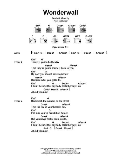 Chords For Wonderwall On Guitar