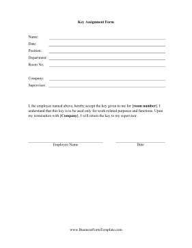 key form template key assignment form template