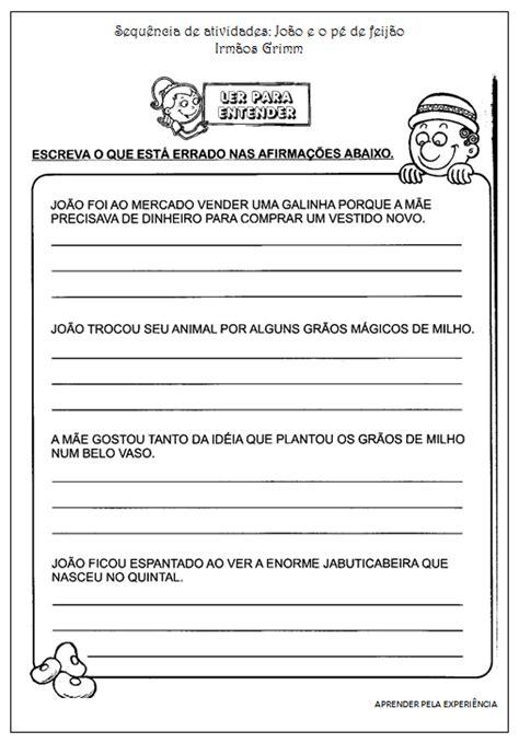"""Sequência de atividades do conto: """"João e o pé de feijão"""