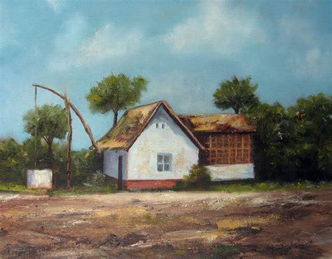 house painting art farm house oil painting fine arts gallery original