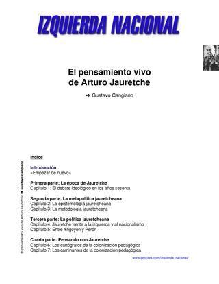 el pensamiento vivo de arturo jauretche g cangiano izquierda nacional by miguel estevez issuu