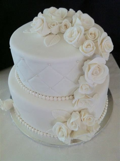 wedding cake made with handmade fondant roses