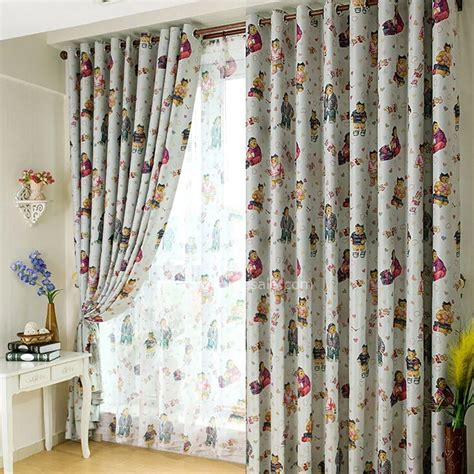 bedroom curtains for kids animal bear pattern gray polyester room darkening curtain for kids bedroom