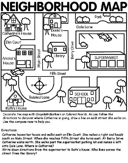heres  simple neighborhood map coloring page