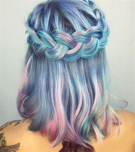 Blue Ombre Bedding Jewels Braid Hair Rainbow Hair Hairstyles