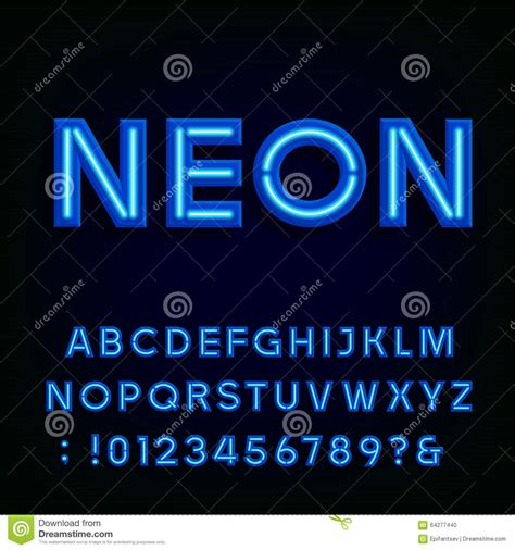 Neon Lights Font by Blue Neon Light Alphabet Font Stock Vector Image 64277440