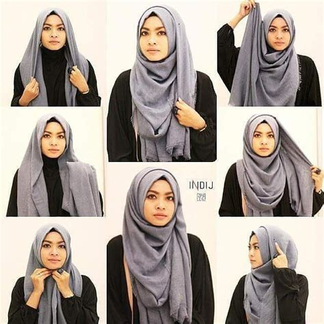 tutorial hijab gaya simple tutorial hijab segi empat simple foulard pinterest