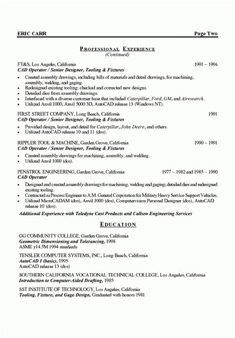 unique resume format for experienced production engineers mechanical designer resume