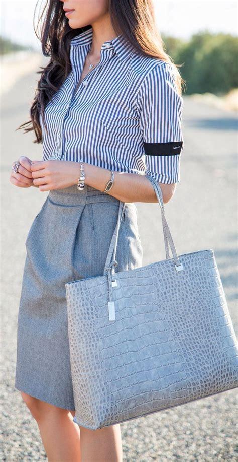 moda de oficina de mujer en pinterest faldas vestidos y m 225 s de 25 ideas fant 225 sticas sobre camisas de rayas en