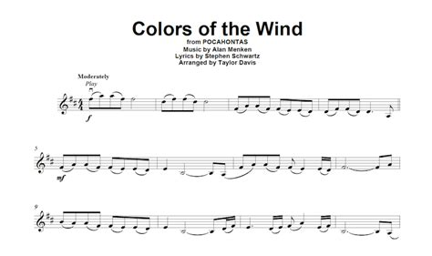 colors of the wind violin sheet davis popular covers play along sheet book