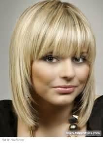 medium blunt hairstyles with bangs glam medium hair with blunt bangs