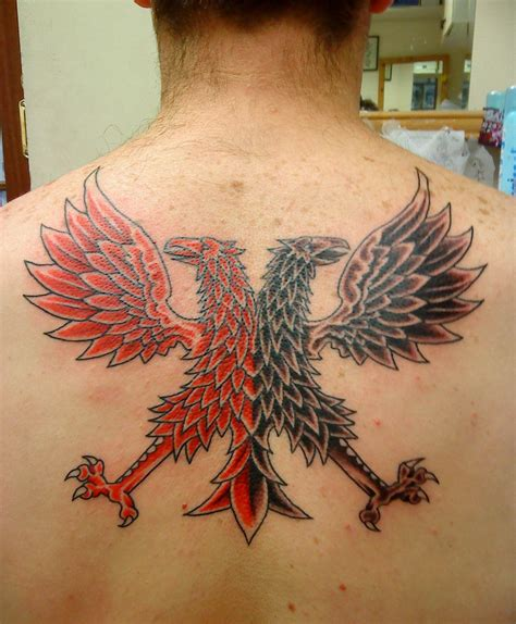 albanian tattoo designs silhouetted black headed eagle