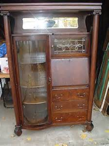 Antique Curio Cabinet With Desk Antique Desk With Curved Glass Curio Cabinet Door