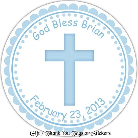 printable baptism stickers cross blue baptism christening first holy communion