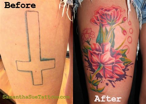 thigh tattoo cover ups cross to flower cover on leg busbones