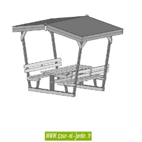 Table Avec Banc En Bois by Beautiful Table De Jardin En Bois Avec Toit Gallery