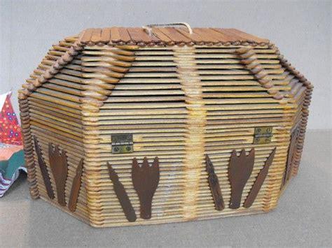Box Stik vintage folk popsicle stick sewing box or basket