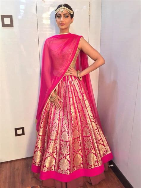Rbl Binadia Brocade Dress Pink brocade lehngas for brides fashion in india threads