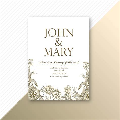 decorative card design floral decorative wedding invitation card template design