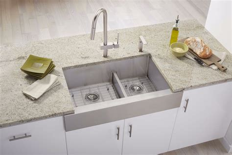 elkay crosstown apron sink faucet com ectraf3220rbg in polished satin by elkay