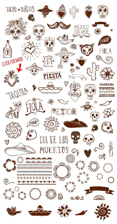 doodle tattoos mexican doodles set by marish on creative